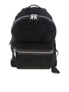 Moschino - Black quilted backpack with logo