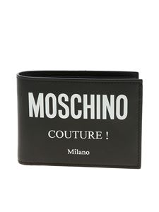 Moschino - Black leather wallet with white logo