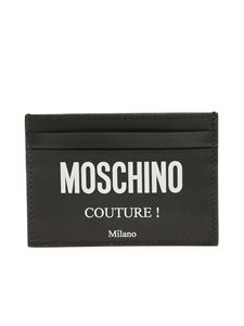 Moschino - Black leather cards holder with white logo