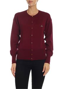 Vivienne Westwood  - Burgundy cardigan with logo embroidery