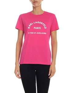 Karl Lagerfeld - T-shirt fucsia con stampa Karl Lagerfeld