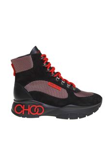 Jimmy Choo - Inca sneakers in red and black leather and fabric
