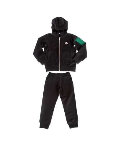 Moncler Jr - Black cotton fleece tracksuit