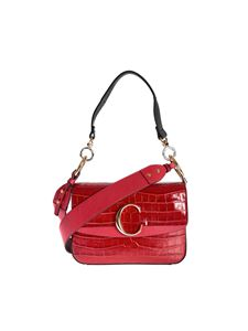 Chloé - Chloé C double carry bag in Dusty Red color