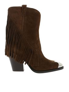 Ash - Elison ankle boots with fringe in leather color
