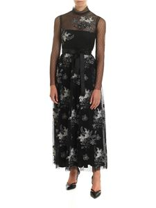 Red Valentino - Black plumetis dress with floral embroidery