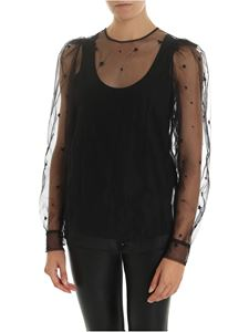 Parosh - Blouse in black tulle with star