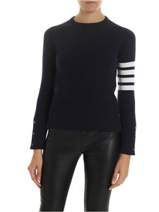 Thom Browne - Dark blue cashmere pullover with striped pattern
