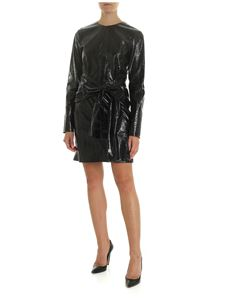 MSGM - Black dress in eco-leather with reptile print
