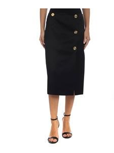 Versace - Black skirt with golden branded buttons
