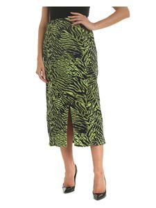 Ganni - Animalier pattern skirt in lime green and black