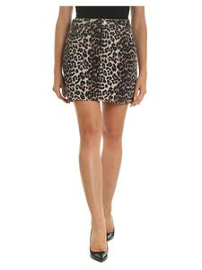 Ganni - Jeans skirt with animalier pattern