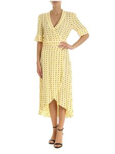 Ganni - White dress with yellow floral print