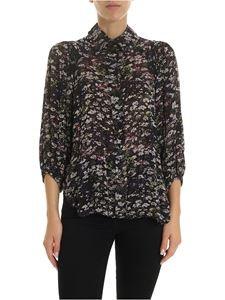 Ganni - Black shirt with floral pattern