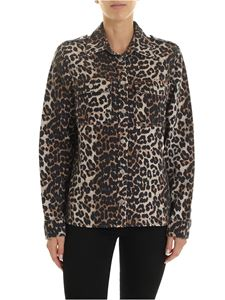 Ganni - Beige and black animal pattern shirt