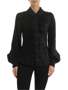 Ganni - Ruffled effect shirt in black