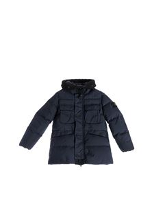 Stone Island Junior - Garment Dyed Crinkle Reps down jacket in blue
