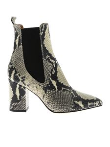 Paris Texas - Reptile print ankle boots in ivory and black color