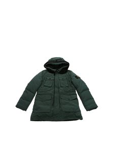 Stone Island Junior - Green down jacket with logo