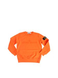 Stone Island Junior - Orange sweatshirt with logo embroidery