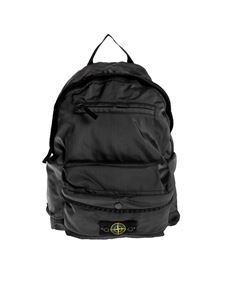 Stone Island Junior - Backpack in black technical fabric