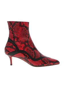 Paula Cademartori - Reptile print ankle boots in red and black