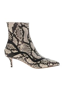 Paula Cademartori - Beige and black reptile print ankle boots