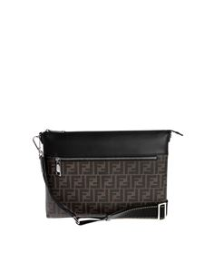 Fendi - Messenger bag with FF motif in brown