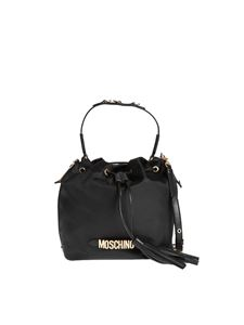 Moschino - Black bucket bag with metal lettering