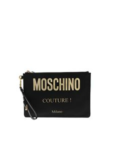 Moschino - Black clutch bag with lettering logo