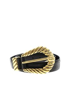 Alberta Ferretti - Black belt with maxi golden buckle