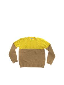 Dondup - Cable-knit motif pullover in beige and lime color