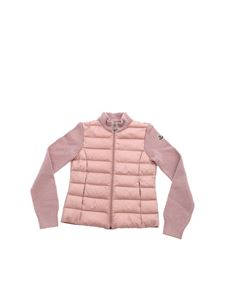Moncler Jr - Pink cardigan with down jacket detail