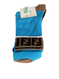 Fendi Jr - Pair of blue and green cotton socks