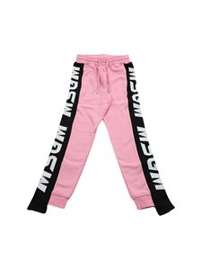 MSGM - Pink trousers with contrasting branded bands