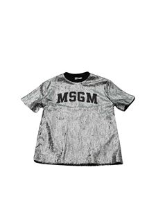 MSGM - Silver sequin T-shirt with logo