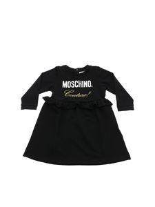 Moschino Kids - Black dress with contrasting logo detail