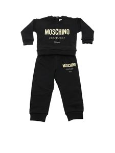 Moschino Kids - Black tracksuit with golden laminated logo print