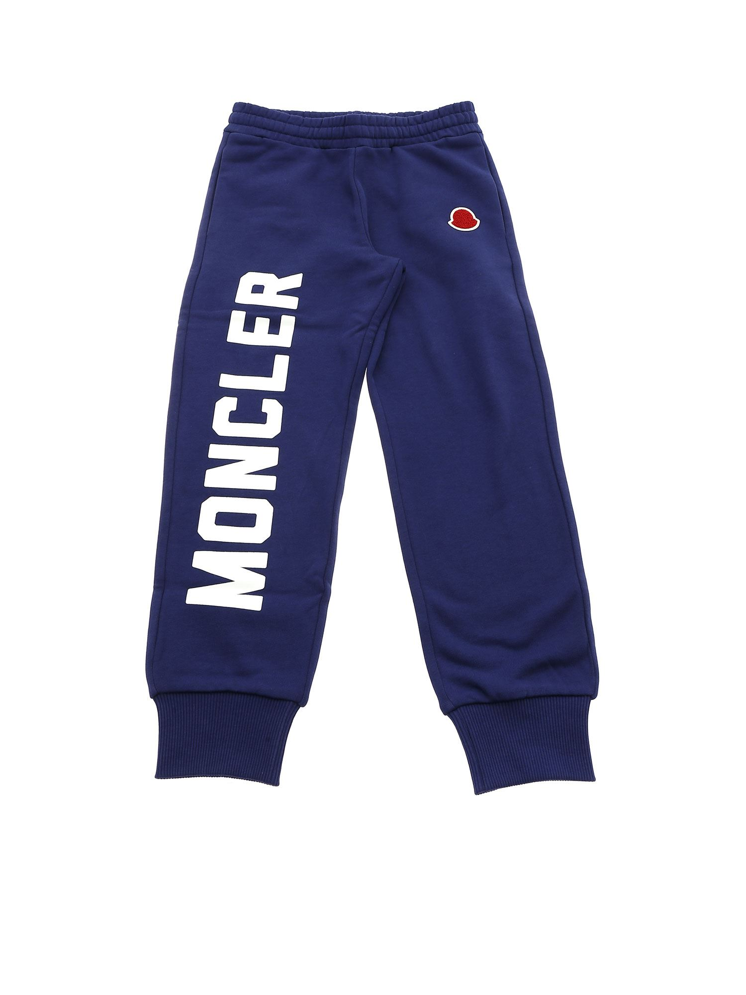 Moncler Jr Cottons BLUE TROUSERS WITH CONTRASTING LOGO