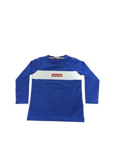 Moncler Jr - T-shirt bluette con patch logo