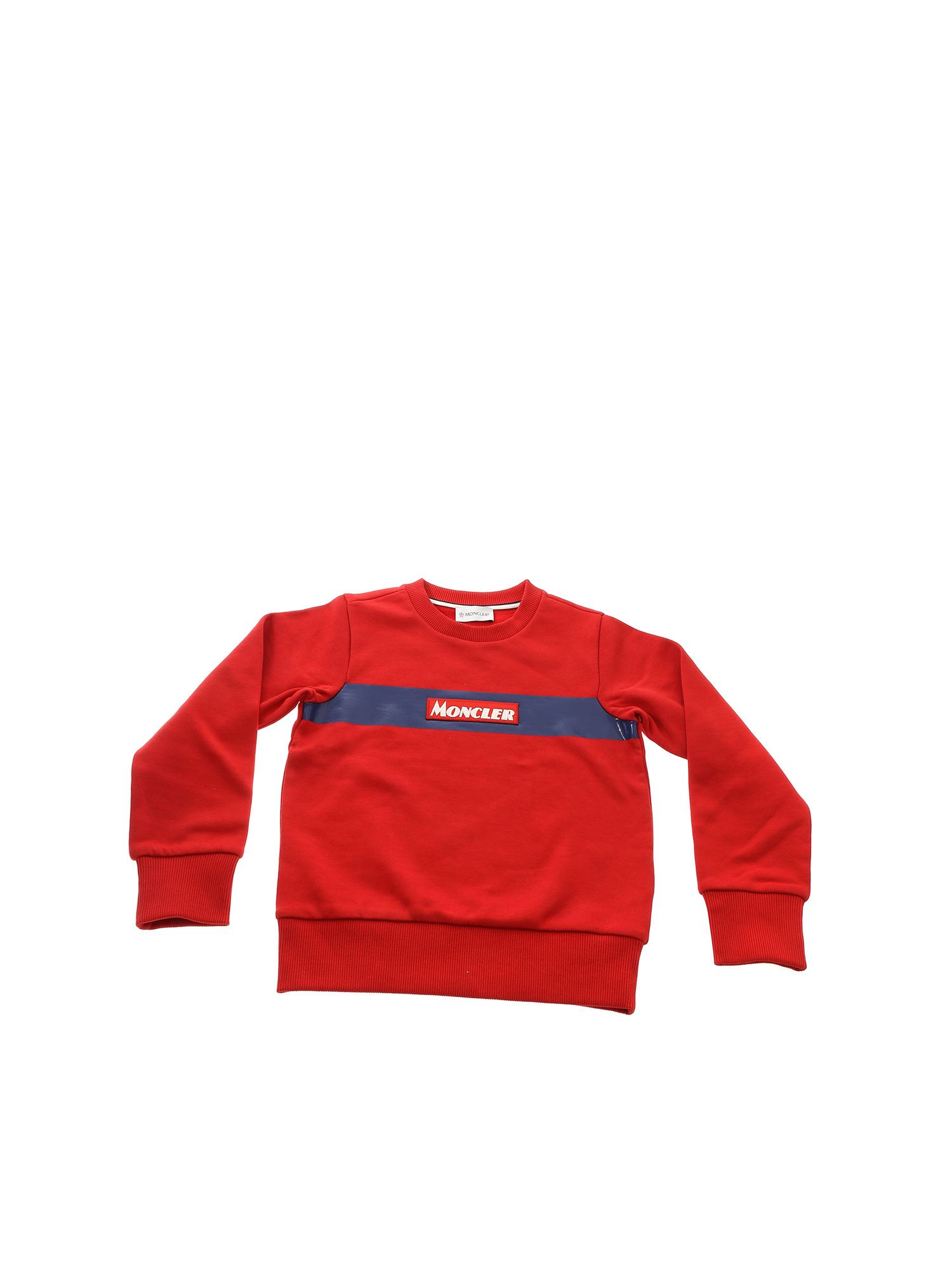 Moncler Jr Cottons RED SWEATSHIRT WITH LOGO PATCH