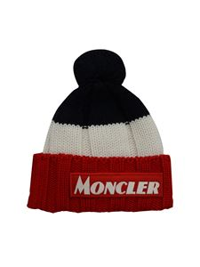 Moncler Jr - Berretto colorblock con pompon