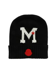Moncler Jr - Black beanie with contrasting inlay