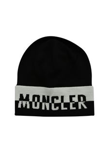 Moncler Jr - Black and ivory jacquard beanie