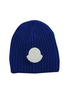 Moncler Jr - Blue beanie with contrasting logo patch