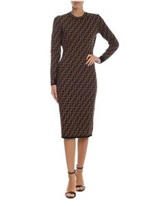 Fendi - Longuette dress with FF motif in brown and black