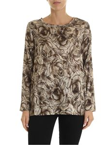 Kangra Cashmere - Beige blouse with rose print