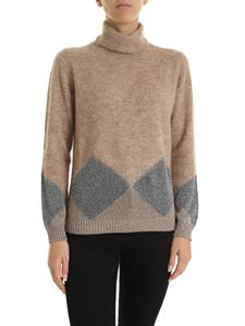 Kangra Cashmere - Beige turtleneck pullover with lamé pattern