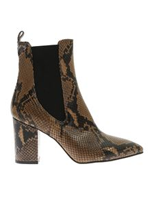Paris Texas - Brown and black reptile print ankle boots
