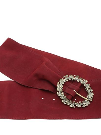 Orciani - Burgundy belt with decorated buckle